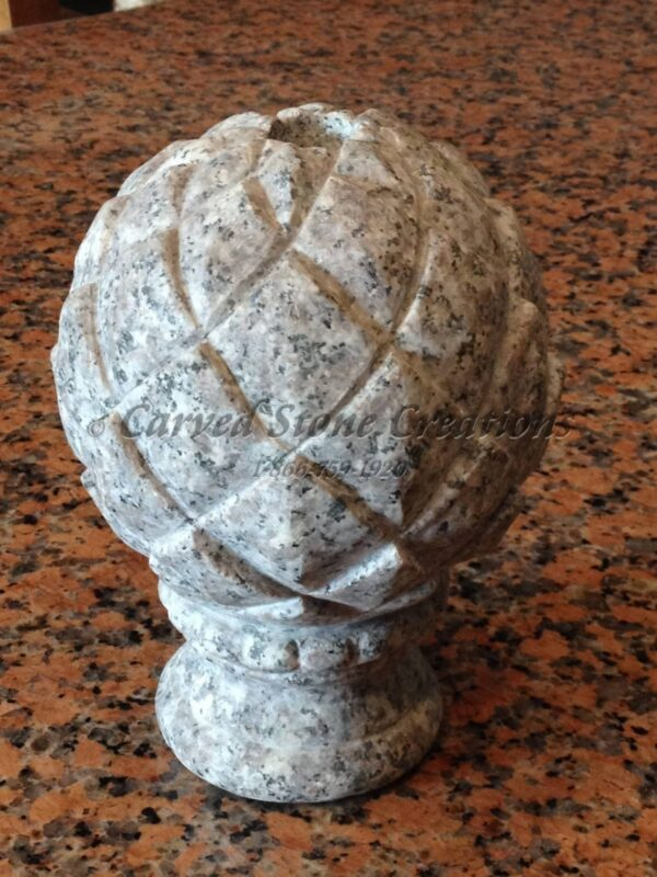 Round Artichoke Finial, D4xH7-1/2, Bainbrook Brown Granite