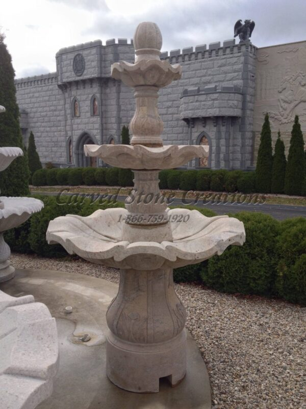 "3-Tiered Scalloped Fountain, D54"" x H96"", Cabo Sands Granite."