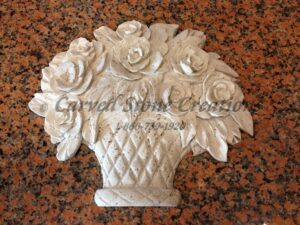 Rose Basket Relief Carving, Light Oriental Travertine