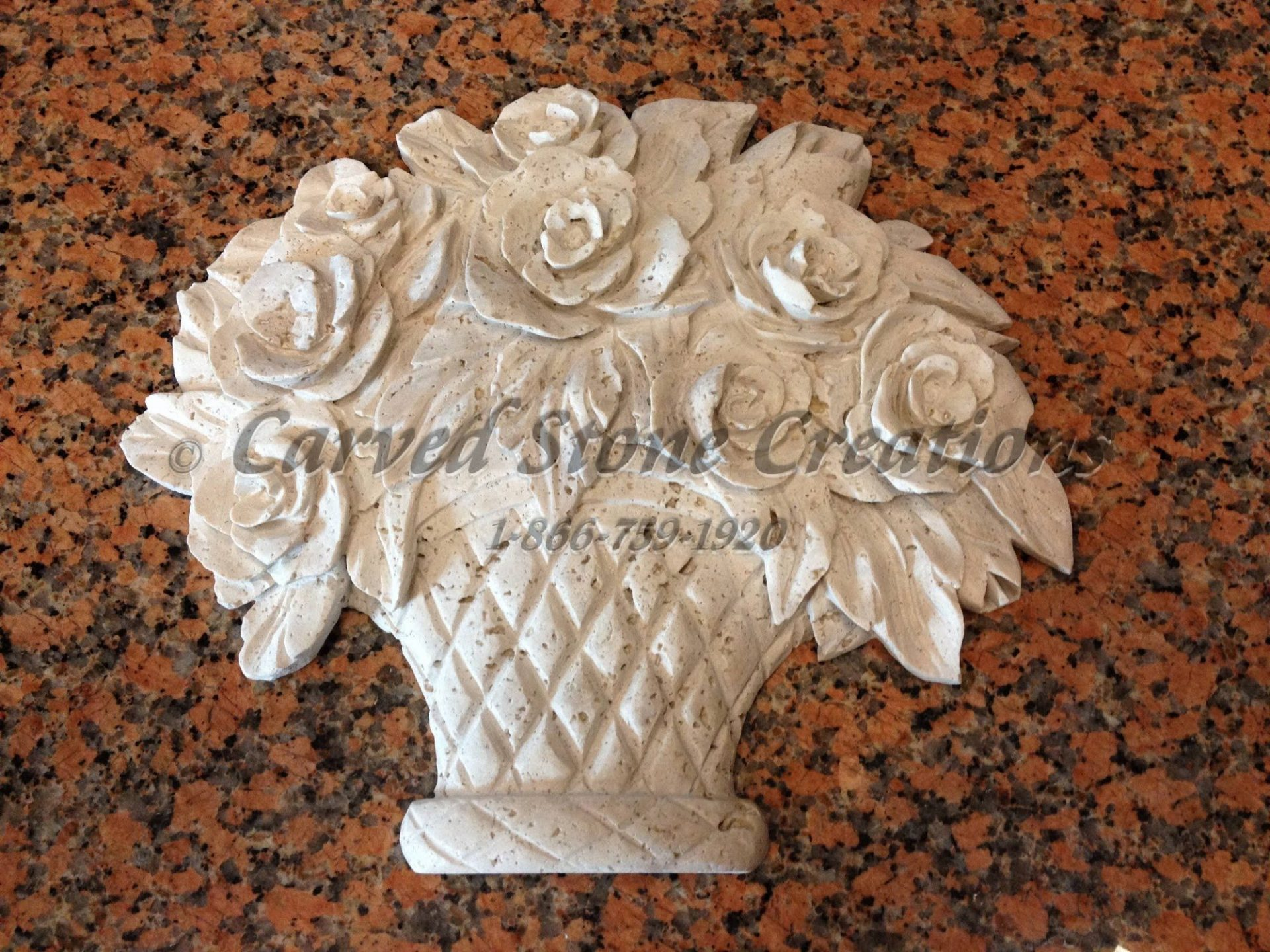 Rose basket relief carving light oriental travertine csc