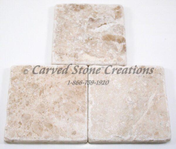 4×4 Crema Cappucino Marble Tumbled Tile