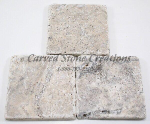 4×4 Silver Travertine Tumbled Tile