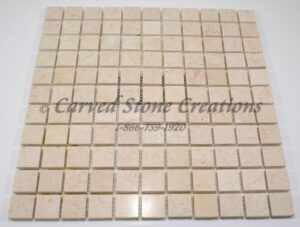 1×1 New Crema Marfil Polished Marble Squares Mosaic