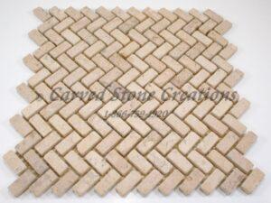 12×12 Summer Wheat Tumbled Limestone Herringbone Mosaic