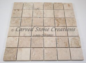 2×2 Crema Cappucino Marble Tumbled Mosaic