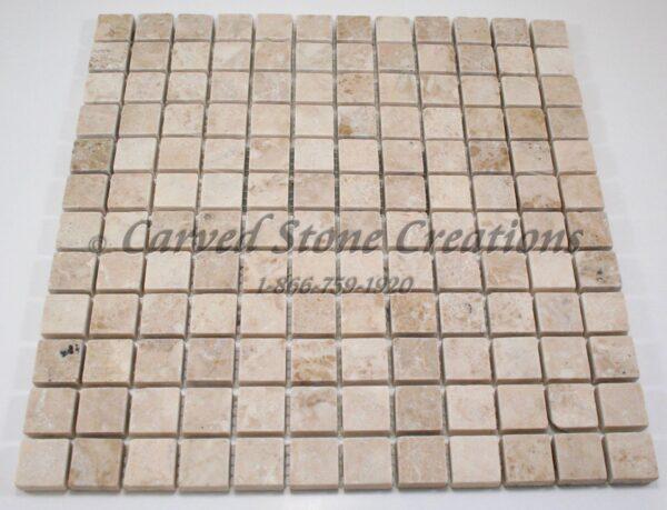 1×1 Crema Cappucino Marble Tumbled Mosaic