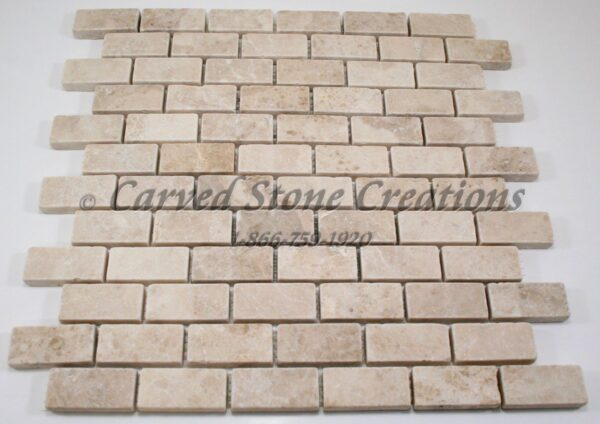 1x2 Crema Cappucino Marble Tumbled Mosaic