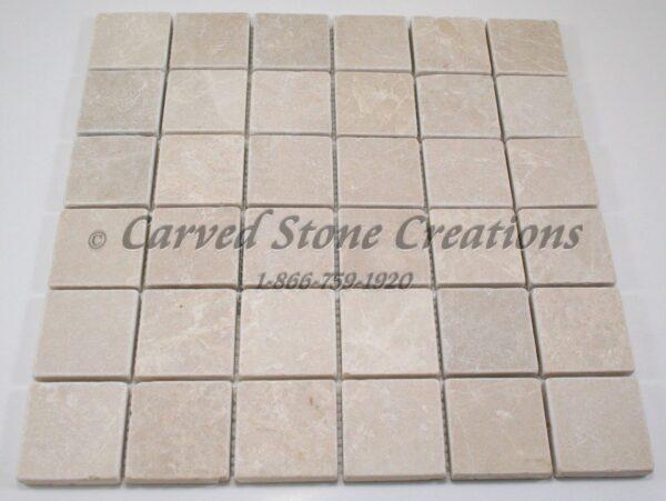 2×2 Botticina Cream Marble Tumbled Mosaic