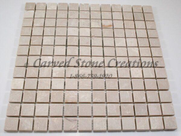 1″ Botticina Cream Marble Tumbled Mosaic