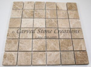2×2 Emperador Light Marble Tumbled Mosaic