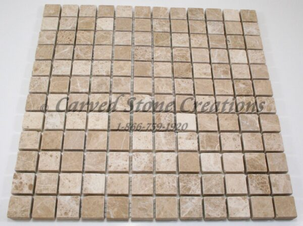 1×1 Emperador Light Marble Tumbled Mosaic
