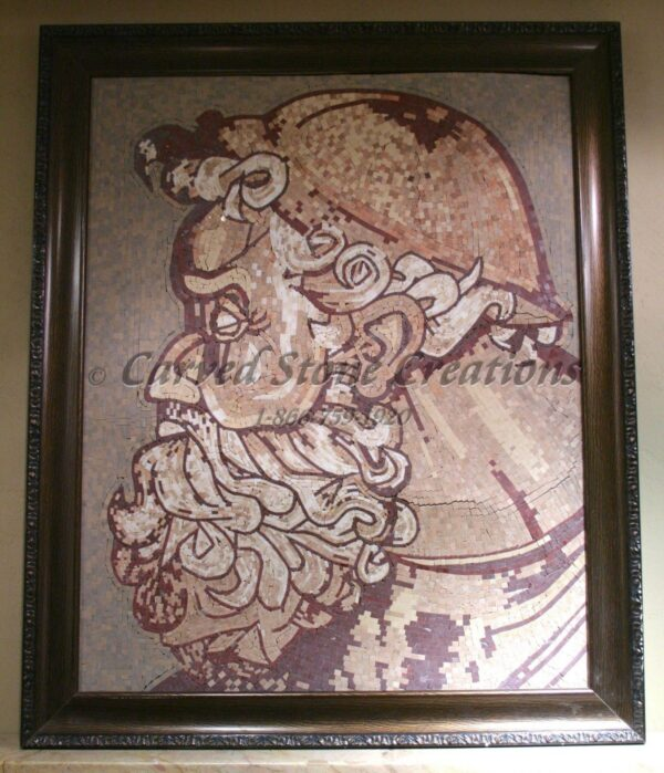 Framed marble mosaic of Zeus.
