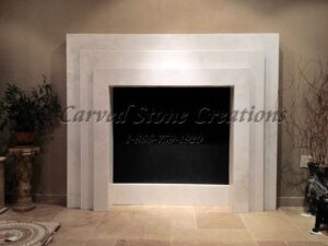 Custom Laminated Slab Fireplace Surround. Mystery White Marble