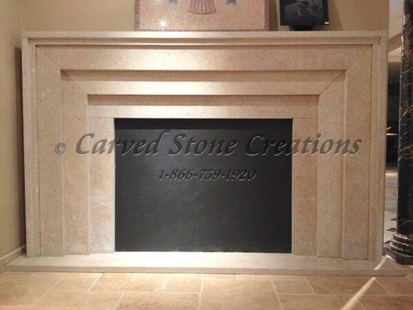 Mitered St. Croix Valley Limestone Fireplace Surround