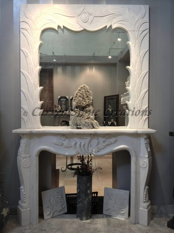 White Marble Fireplace With Overmantle Mirror Carved