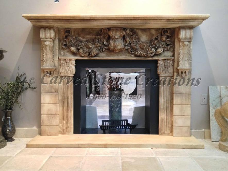 Intricate fireplace mantel