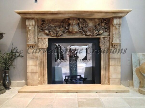 Antiqued White Marble Fireplace with Garland Swag Detail