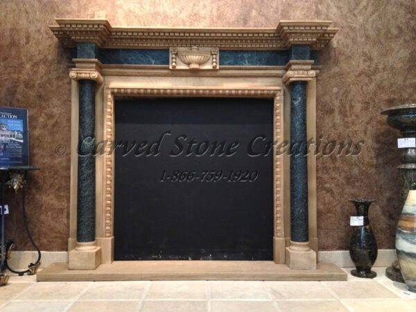 Antique White Marble Fireplace with Green Columns