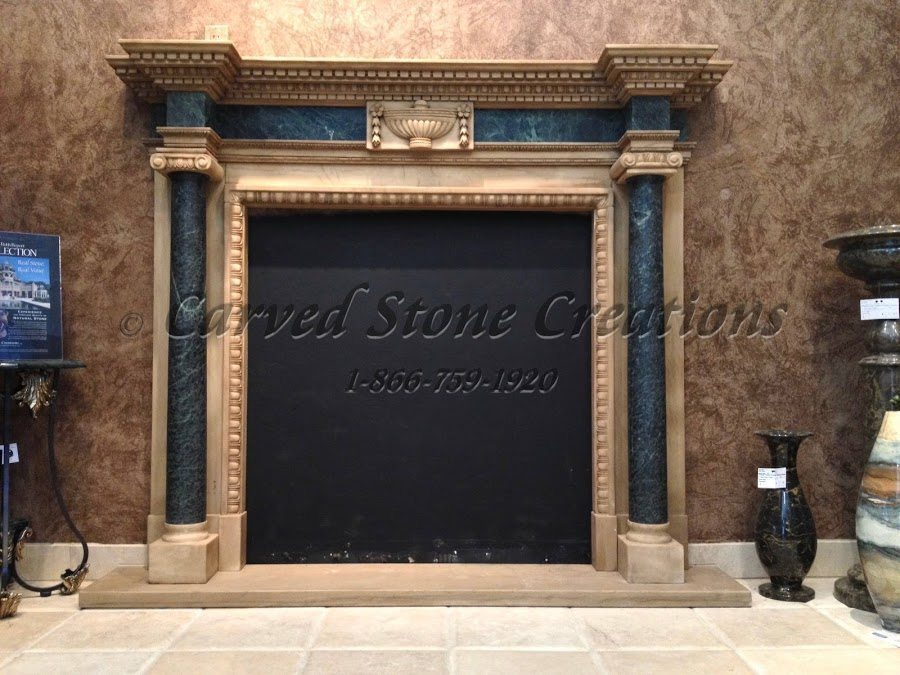 Two-toned stone fireplace