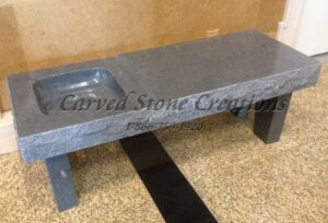 Coffee Table Top with Basin, Charcoal Grey Granite