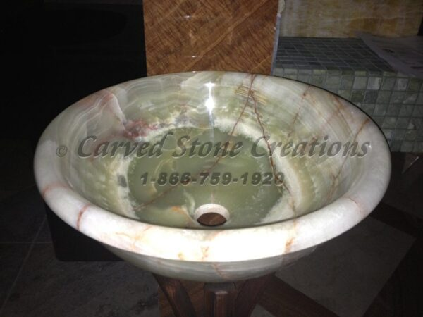 Polished Rimmed Light Green Onyx Vessel Sink