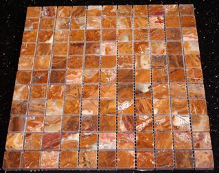 Red Onyx 1 Polished Square Mosaic Tiles