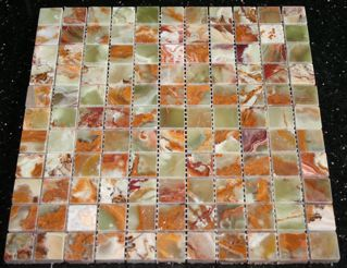 "12x12"" Green Onyx 1"" Polished Square Mosaic Tiles"