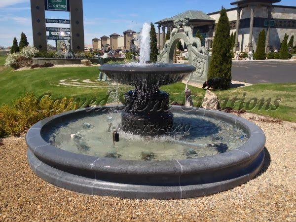 12' Round Contour Fountain Pool Surround, Charcoal Grey