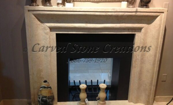 Light Oriental Travertine Mitered Profile Surround with Hearth
