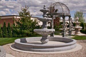 14' Round Contour Fountain Pool Surround, Charcoal Grey