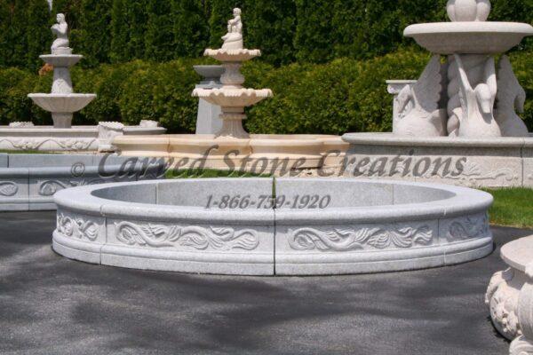 8 Round Acanthus Fountain Surround, Bianco Catalina