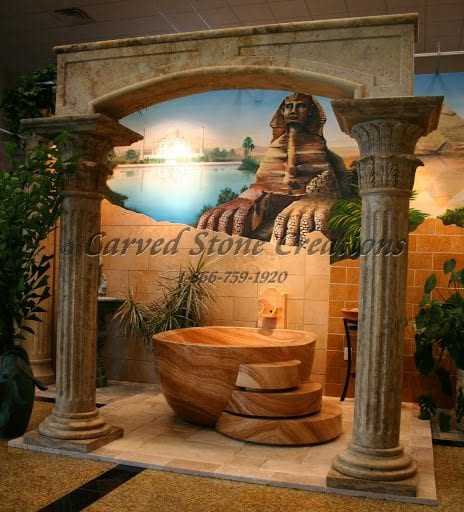 Carved Travertine Arch, 7-FT