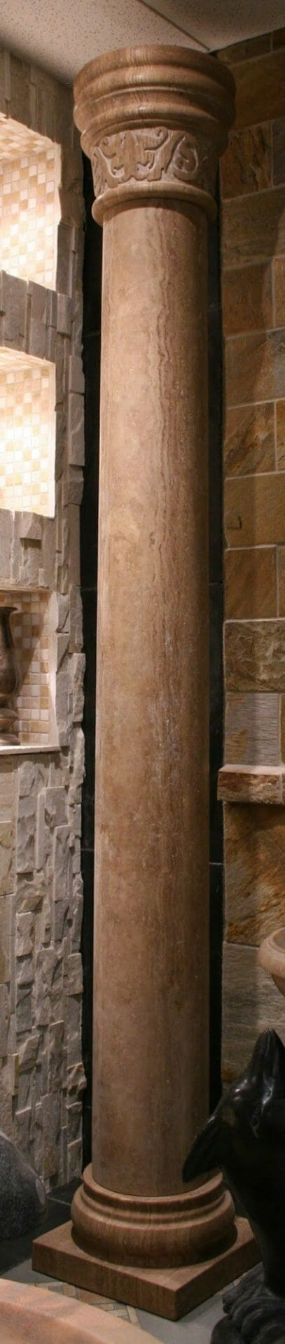 Noce Travertine Tuscan Column with Carved Cap Banding, 8-FT