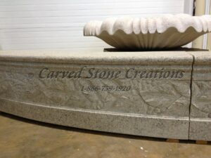 20' Round 14 Tall Carved Grapes Detail Fountain Pool Surround, Giallo Fantasia R Granite