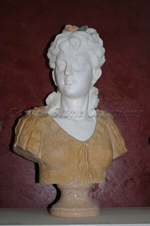 Female Bust, White Marble with Brown Blouse