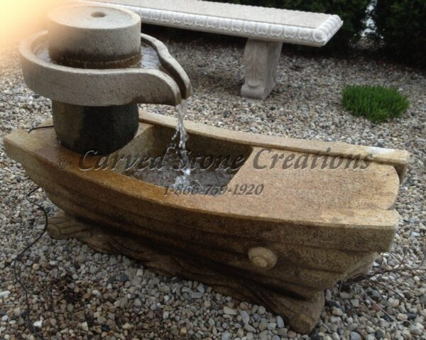 Antique Millstone Boat Carving Fountain