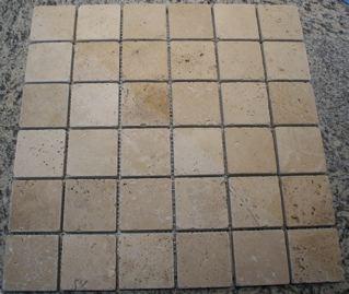 Tuscany Classic Travertine 2 Tumbled Square Mosaic Tiles