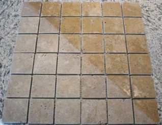 Noce Travertine 2 Tumbled Square Mosaic Tiles