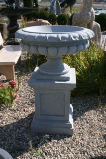 "Victorian Urn Fountain 1-Tier, D30"" x H42"", Charcoal Grey Granite"