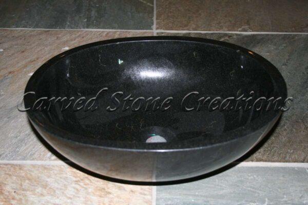 L18x15 Oval Unrimmed Sink, Absolute Black Granite