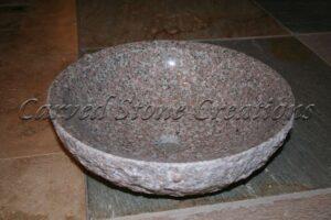Wild Rose Rock Face Granite Vessel Sink