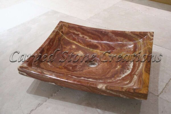 Red Onyx Polished Contemporary Square Sink
