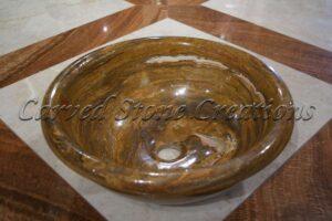 Brown Onyx Polished Rimmed Vessel Sink