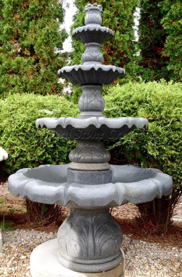 "4-Tier Acanthus Fountain, D48"" x H72"", Charcoal Grey Granite"