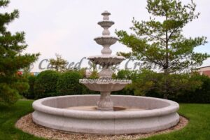 12' Round Contour Fountain Pool Surround, Wild Rose