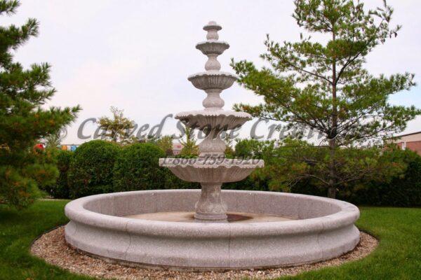 12' Round Contour Fountain Pool Surround, Wild Rose