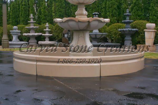 10' Round Cypress Fountain Pool Surround, Golden Cypress Granite