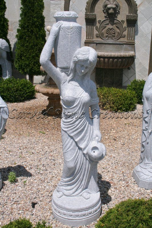Rebecca at the Well Statuary Fountain, Bianco Catalina Granite