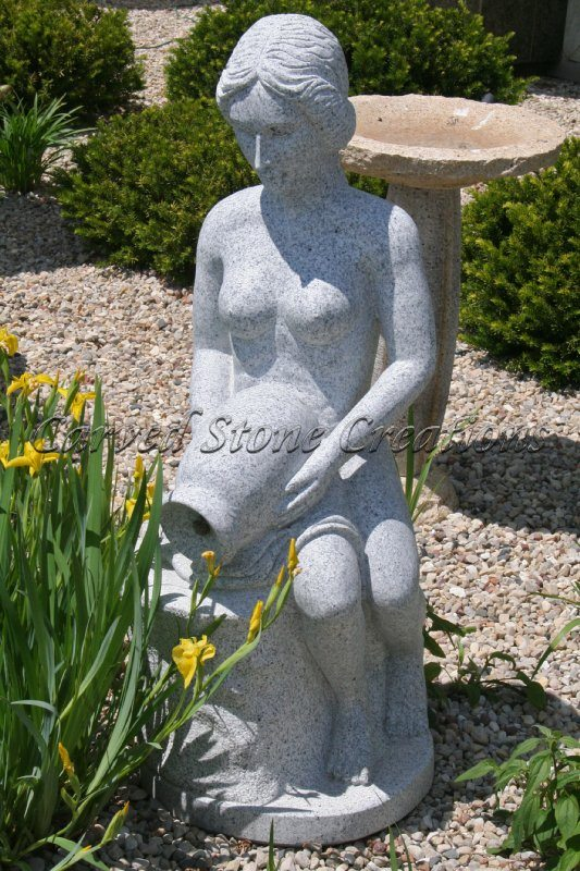 "Goddess Of The Pool Filler Fountain,H47"", Bianco Catalina Granite"