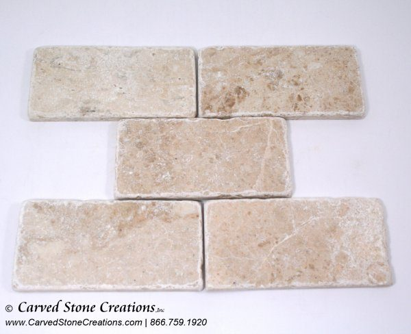 Crema Cappucino Marble Tumbled 3 x 6 Tile